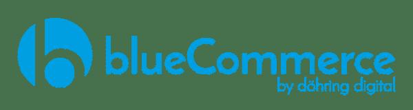 Blauer blueCommerce by döhring digital Schriftzug auf transparentem Hintergrund
